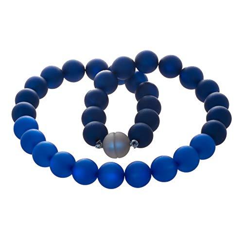 Bella Carina Polaris Perlen Kette Collier 14 mm Dunkles blau, Magnetverschluss (46)