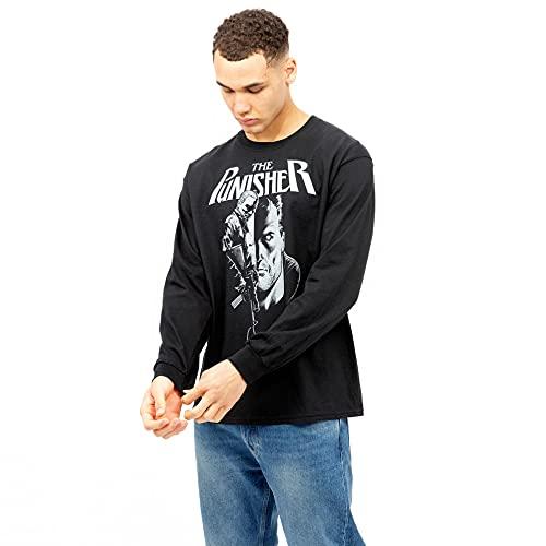 Marvel Punisher Rifle Camiseta, Negro, M para Hombre