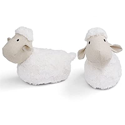 Mud Pie Plush Lamb Weighted Bookends, White