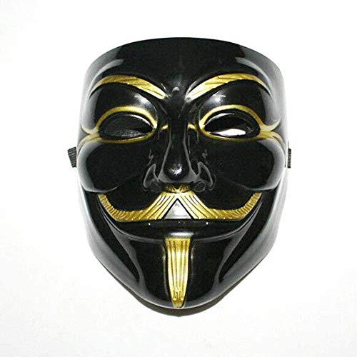 IWQW Máscara Halloween Máscara De Vendetta Guy Fawkes Anónimo Disfraz De Halloween Disfraz Cosplay Máscara De Carnaval Veneciano para Hombres Negro
