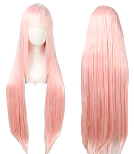Linfairy Anime Cosplay Pink long Princess Wig Halloween Costume Wig for Women 100cm