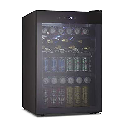 Kismile 4.5 Cu.ft Beverage Refrigerator and Cooler,126 Can Mini Fridge Glass Door with Digital Temperature Display for Soda,Beer or Wine,small Drink Dispenser Cooler for Home,Office or Bar (Gray)