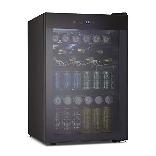 Kismile 4.5 Cu.ft Beverage Refrigerator and Cooler,145 Can Mini Fridge Glass Door with Digital Temperature Display for Soda,Beer or Wine,small Drink Dispenser Cooler for Home,Office or Bar (Gray)