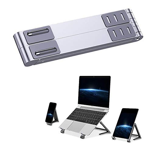 MKIU Computer Stand, Portable Multi-Block Height Adjustable Foldable Laptop Desk, Aluminum Foldable Laptop Cell Phone Stand, for PC Smartphone,Silver