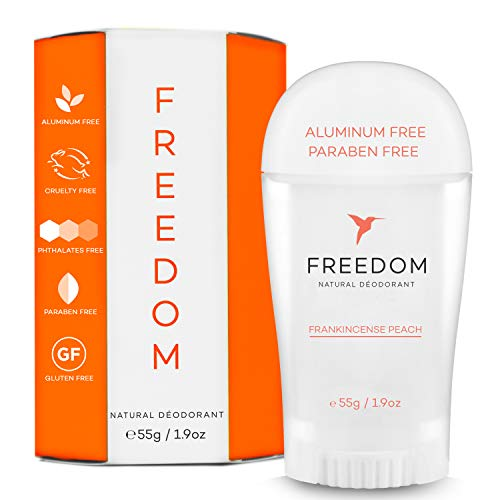 Freedom Natural Aluminum Free Deodorant Stick For sensitive Skin for Women & Men - Cruelty Free, and It REALLY works, Frankincense Peach