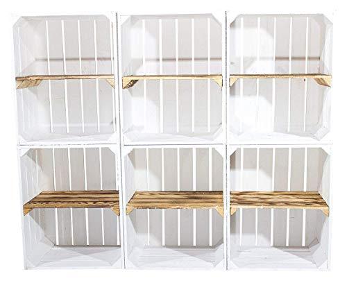 Vintage Möbel 24 GmbH 5X WEIßE OBSTKISTE mit GEFLAMMTEN QUERBODEN - Neu - Obstkiste zum Bauen, basteln, verstauen oder als Deko - 40x30x50 cm