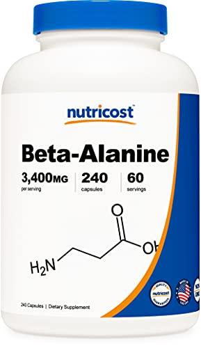 Nutricost Beta-Alanine Capsules 3400mg, 240 Capsules (60 Serv) - Potent Beta Alanine, Gluten Free & Non-GMO, 850mg Per Cap