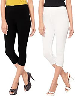 Capri Style Leggings| White and Black| 3/4th For Women in 95 % Cotton and 5 % Lycra Combo| Pack of 2 | Free Size Comfortab...