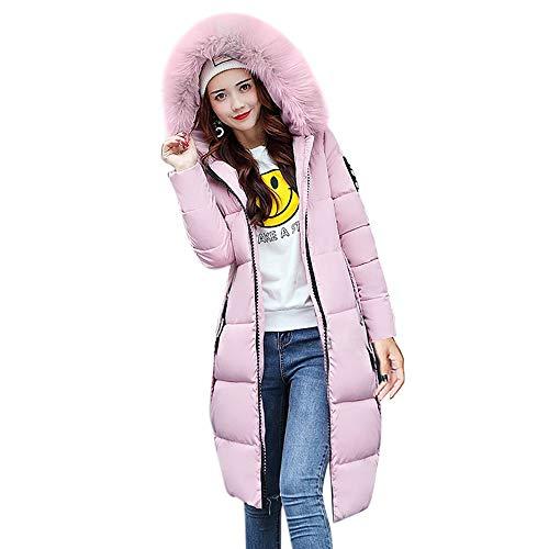 Kulywon Women Solid Casual Thicker Winter Slim Down Lammy Jacket Coat Overcoat Pink