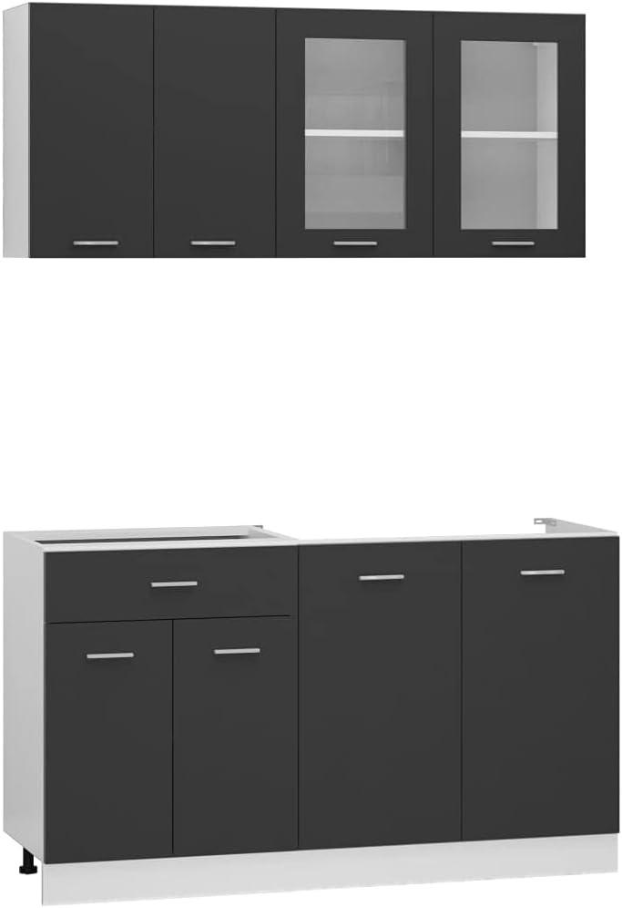 vidaXL Juego de Muebles de Cocina 4 Piezas Comedor Mobiliario Armario Estante Almacenaje Microondas Fregadero Lavavajilla Aglomerado Gris