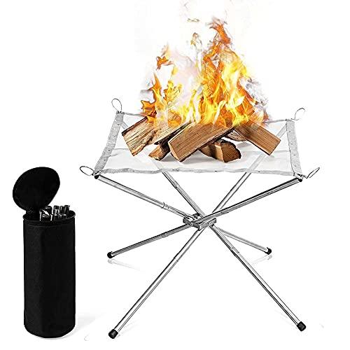 Tragbare Feuerstelle im Freien klappbarer Fire Pit aus Edelstahl, Feuerkörbe mit 3 Abschnitten Lagerfeuerständer für Camping, Garten und Garten, inklusive Tragetasche