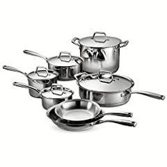 """Set includes: 8"""" & 10"""" Fry Pans; 5.5 Qt. Covered Deep Sauté Pan; 1.5 Qt., 2 Qt. & 3 Qt. Covered Sauce Pans; and 8 Qt. Covered Sauce Pot Precision cast riveted handles ensures a comfortable and firm grip; Sleek modern lines feature a flared edge for e..."""