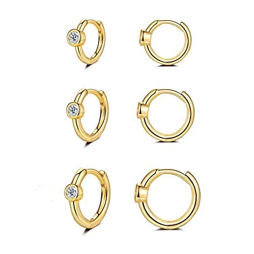 CERSLIMO Creolen Gold Damen, Klein Zirkonia 14K Gold 585 Creolen Set Knorpel Schlafen Ohrringe Mini Set 6mm/8mm/10mm Herren