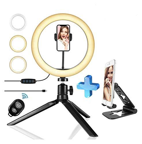 YNLRY LED Selfie Anillo luz trípode Soporte Soporte teléfono llenado lámpara Video Maquillaje fotografía iluminación Anillo Bluetooth Remoto vlog Youtube TIK Tok (Color : Bluetooth holderA)