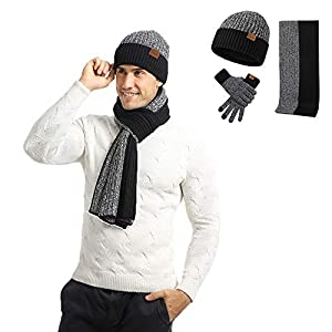 Men's Winter Beanie Hat Neck Warmer Scarf and Touchscreen Gloves Set 3 Pcs Fleece Lined Skull Knit Cap for Women