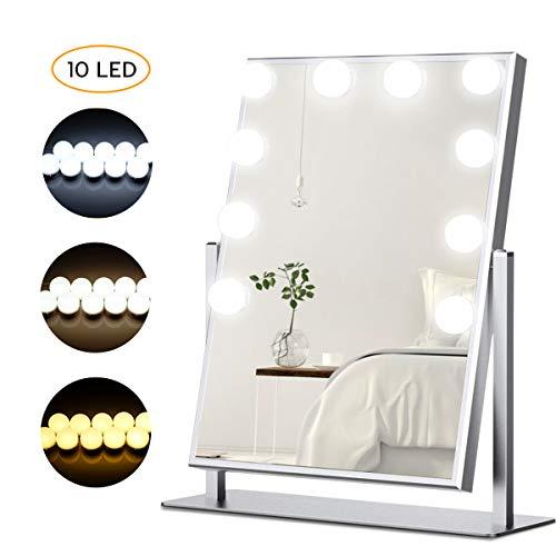LED Spiegelleuchte, Spiegellampe, Hollywood Stil Schminklicht mit 3 Farbe Modus und 10 Dimmbare Helligkeiten Spiegel Make-UP Licht für Kosmetikspiegel/Schminktisch/Badzimmer Spiegel (8000 Kelvin)