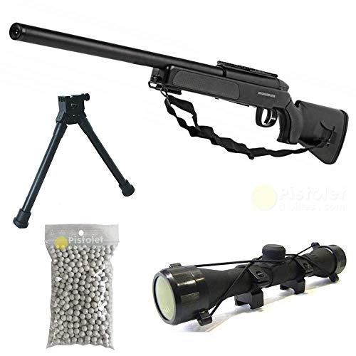 Airsoft Swiss Arms Pack Deluxe Eagle Sniper/Sniper à Ressort/métal-ABS/Rechargement Manuel (0.5 Joule)-Livré avec Accessoires