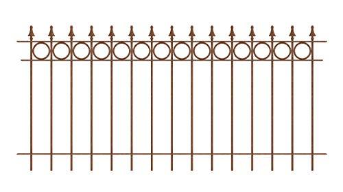 ELEO Gartenzaun Belluno I aus massivem Schmiedeeisen - langlebig & witterungsbeständig I dekorative & hochwertige Zaun-Elemente - inkl. Schrauben I Länge 96 cm - unbeschichtet romantischer Edelrost