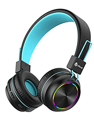 iClever Bluetooth Kids Headphones, Colorful Lights LED, Kids Headphones Wireless and Wired with MIC, Volume Control, Foldable, for School/Travel by iClever