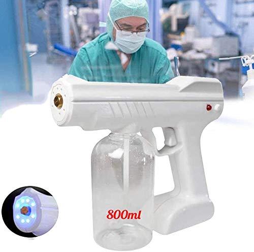 AMDIMOHB Alcohol Antivirus Spray Gun 800ml Fogger Recargable Pulverizador eléctrico, Disinfección portátil Disinfección Azul Nano Steam Steam Atomizer Machine, Blanco