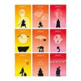 Star Wars Minimalist Poster Set 9 Full Episode The Phantom Menace Attack of the Clones Revenge of the Sith A New Hope The Empire Strikes Back The Return of the Jedi The Force Awakens