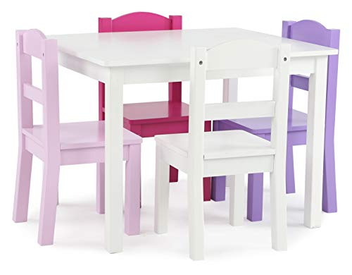 Humble Crew Kids Wood Table & 4 Chair Set Primary,...