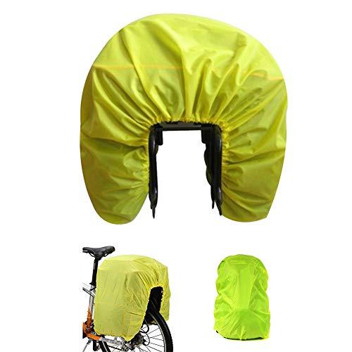 Housse de pluie de vélo Auvstar - Pour sacs à l'arrière du vélo - 100 % étanche et imperméable - Pour sacs de ville, sacs à dos, sacoches et bagages - Ultralégère et pliable - Jaune