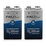 PALO 2pcs / set 6F22 006p 9V NI-MH 300mah Baterías recargables ecológicas para juguetes de alarma, etc.