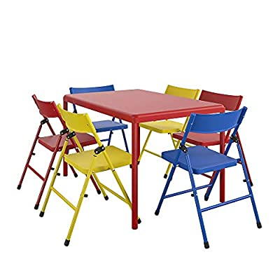 Cosco Kids Furniture 7 Piece Children'S Juvenile Set with Pinch Free Folding Chairs & Screw in Leg Table by Cosco