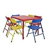 Cosco Kids Furniture 7 Piece Children'S Juvenile Set with Pinch Free Folding Chairs & Screw in Leg Table