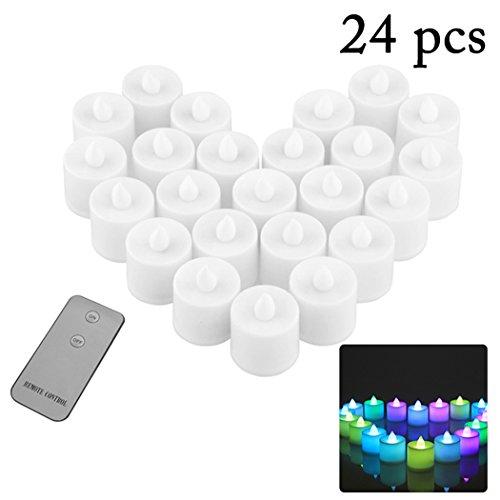 JUSTDOLIFE 24PCS LED kaars vlamloze realistische kaarslicht bruiloft theelicht met afstandsbediening multicolor