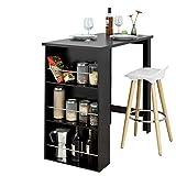 SoBuy FWT17-Sch Table de Bar avec Rangement Mange-Debout Table de Bistrot Table Haute de Cuisine avec 3 Étagères de Rangement – Noir