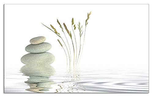 Artland Spritzschutz Küche aus Alu für Herd Spüle 55x90 cm Küchenrückwand mit Motiv Natur Zen Wellness Stein Gräser Yoga See Asien Weiß T5VB