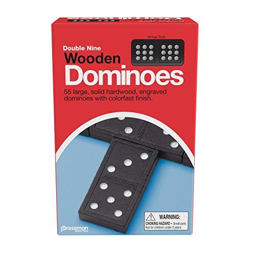 """Pressman 1621-12 Double Nine Wooden Dominoes, 5"""""""