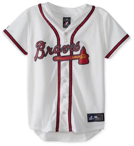 MLB Atlanta Braves Home Replica Baseball Damen Trikot Weiß, Damen, Wei, Medium