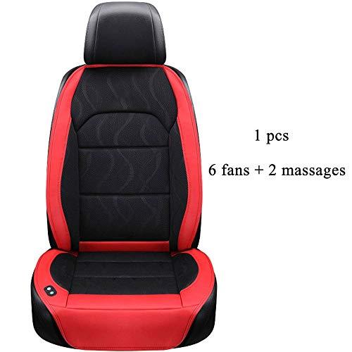 Diommest 6 Lüfter + 2 Massage Sommer Auto-Sitzkissen, Luftkissen mit Ventilator Sitzbezüge Autositzkühlweste Sommer Lüftungs Kissen Kühle (Color Name : 1 pcs Red)