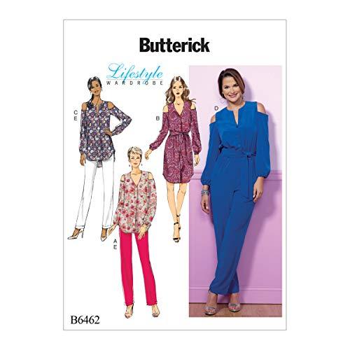 Vlinderpatronen 6462 E5, mist top, tuniek, jurk, jumpsuit, sjerp en broek, maten 14-22, spleet, meerkleur, 17 x 0,5 x 22 cm