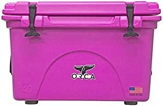 ORCA ORCP040 Cooler with Extendable flex-grip handles for comfortable solo or tandem portage, 40 quart, Pink