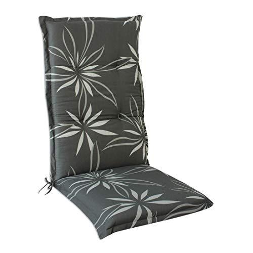 OUTLIV. Polsterauflage Florence Dessin 2135 Klappsessel -Auflage 120x50x6 cm Sitz- Rückenkissen Grau mit Blumenmuster Sitzauflage für Gartensessel und Gartenstuhl
