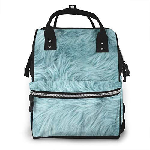 UUwant Sac à Dos à Couches pour Maman Blue Sheep Fur Natural Sheepskin Rug Diaper Bags Large Capacity Diaper Backpack Travel Nappy Bags Mummy Backpackling