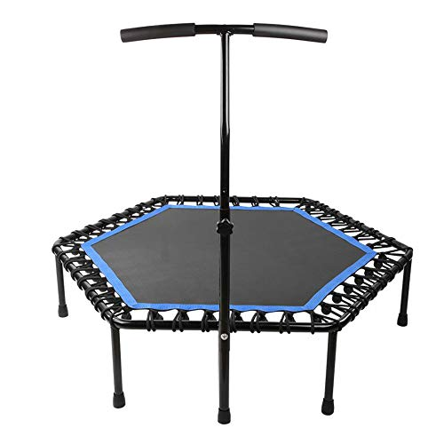 LWXXXA Mini Fitness Trampoline, Indoor Trampoline With Handle, 2-In-1 Lean Aerobic Exercise Rebounder - 50 Inch, For Adults Kids Indoor Exercise