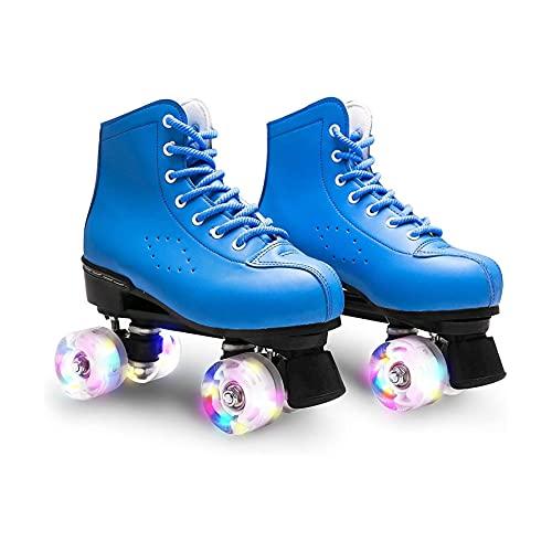 ZXSZX Zapatos Rodantes con Cuatro Rollos En Doble Fila, Zapatos Rodillos LED para Niños Adolescentes, Ideales Principiantes, Cómodos Patines Scooter Niñas Y Niños,Blau-43