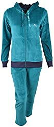 Evizza Women Zipper Hoodie Tracksuit Active Pure Turquise Color Outfits Set