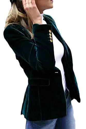 H&E - Giacca da donna in velluto con risvolto e bottoni Blu XXL