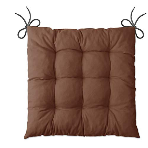 LILENO HOME 6er Set Stuhlkissen Braun (40x40x6 cm) - Sitzkissen für Gartenstuhl, Küche oder Esszimmerstuhl - Bequeme UV-beständige Indoor u. Outdoor Stuhlauflage als Stuhl Kissen