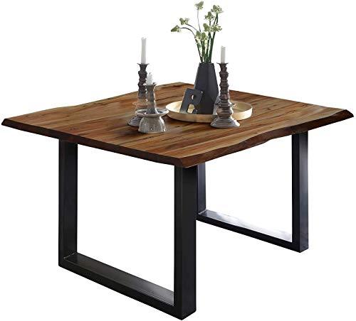 SAM Esszimmertisch 80 x 80 cm Mephisto, Baumkantentisch nussbaumfarben, Akazienholz massiv, U-Gestell aus Metall schwarz