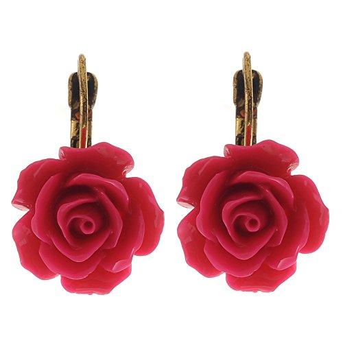 Preisvergleich Produktbild Rosen Blumen Ohrringe - fuchsia Rosa Ohrhänger - hochwertiger Schmuck