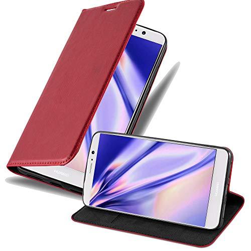 Cadorabo Hülle für Huawei Mate 9 - Hülle in Apfel ROT – Handyhülle mit Magnetverschluss, Standfunktion & Kartenfach - Hülle Cover Schutzhülle Etui Tasche Book Klapp Style