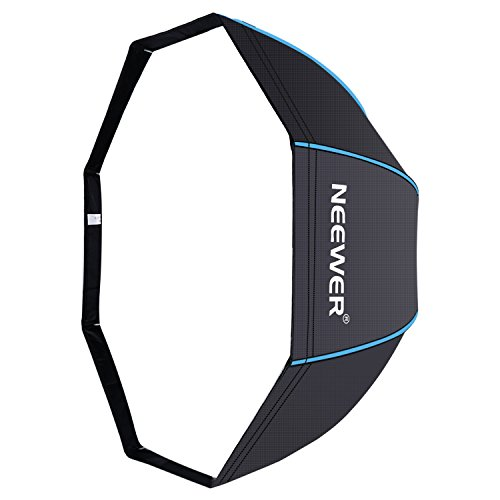 Neewer 80 Centímetros Portable Octagonal Paraguas Softbox para Flash de Estudio, Speedlite, con Difusor Blanco y Bolsa de Transporte para Fotografía de Producto Retrato (Negro / Azul)