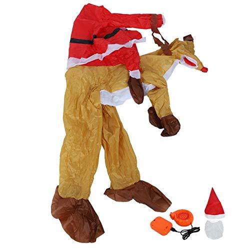 Omabeta Valentinstag Cartoon Aufblasbares Kostüm Langlebiges Weihnachtsmann Aufblasbares Kostüm Niedlich Bequem für Zoos für Cosplay Partys (Weihnachten Reiten Reh X121)